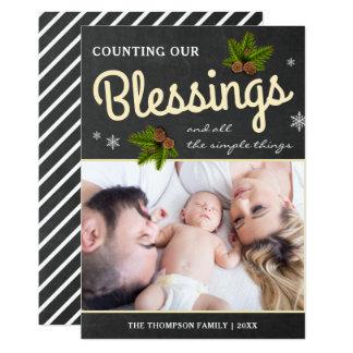 Chalkboard Christmas Blessings | Family Photo Card