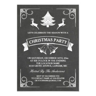 Chalkboard Christmas Deer Tree Bell Holiday Party Card