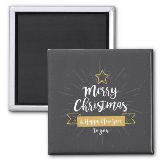 Chalkboard Christmas Happy New Year Gold Magnet