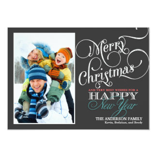 Chalkboard Christmas Holiday Photo Flat Card