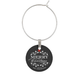 Chalkboard Christmas Holly Vintage Typography Wine Charm