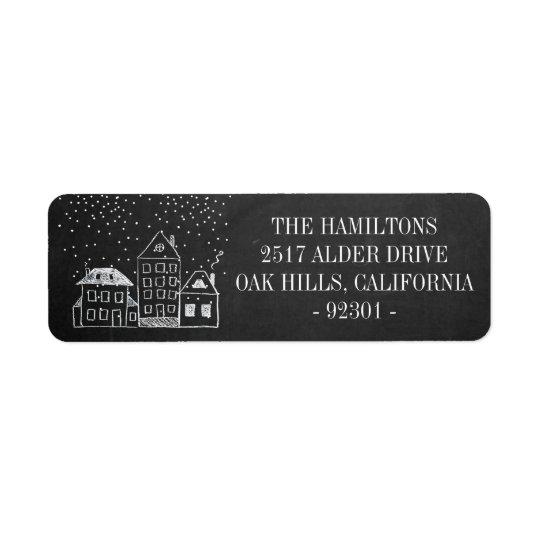 Chalkboard Christmas Houses Personalised Address Return Address Label