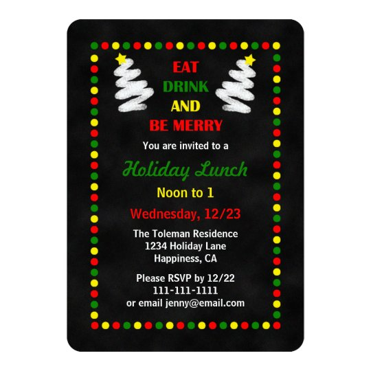 Chalkboard Christmas Lunch or Luncheon Invitation