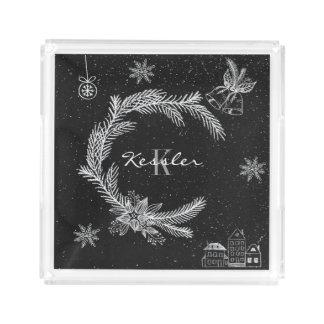 Chalkboard Christmas Monogram Serving Tray