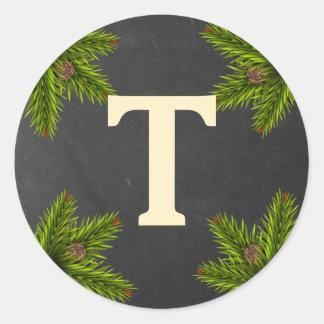 Chalkboard Christmas Pine Cones Monogram Classic Round Sticker