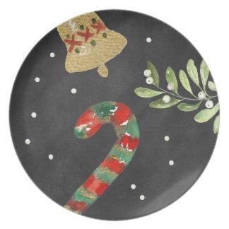 Chalkboard Christmas Plate Candy Cane Melamine