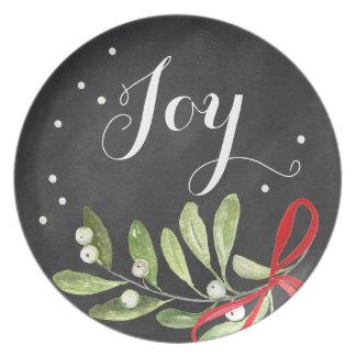 Chalkboard Christmas Plate Mistletoe Melamine