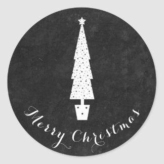 Chalkboard Christmas Tree / Merry Christmas Classic Round Sticker