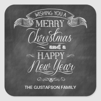 Chalkboard Christmas Wish Square Sticker
