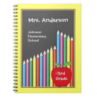 Chalkboard & Colored Pencils Teacher Notebooks