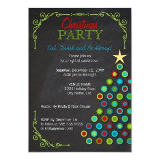 Chalkboard Colorful Christmas Tree Holiday Party Card