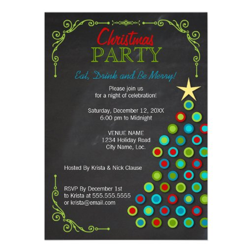 Chalkboard Colorful Christmas Tree Holiday Party Custom Announcements