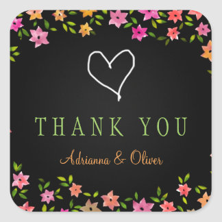 Chalkboard Colorful Flower Wreath Thank You Square Sticker