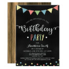 Chalkboard Colourful Bunting Flags Kids Birthday Card