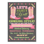 Chalkboard Cowgirl Bachelorette Weekend Getaway Invitation
