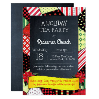 Chalkboard Crazy Quilt Holiday Party Invitation
