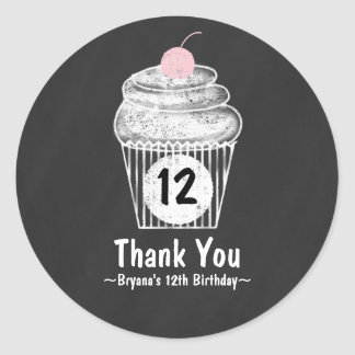 Chalkboard Cupcake Birthday Party Favor Sticker