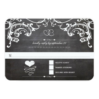 Chalkboard Cute Heart Initials Typography RSVP 9 Cm X 13 Cm Invitation Card