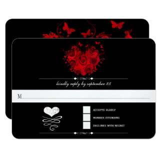 Chalkboard Cute Heart Initials Typography RSVP Card