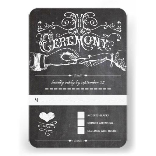 Chalkboard Cute Heart Initials Typography RSVP Custom Invites