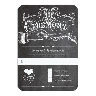 "Chalkboard Cute Heart Initials Typography RSVP 3.5"" X 5"" Invitation Card"