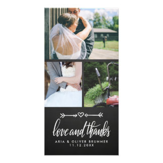 Chalkboard Cute Heart Wedding Thank You Card