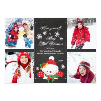 Chalkboard Cute Snowman 4 Photo Greeting Card