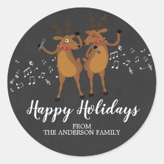 Chalkboard  Dancing Reindeer Christmas Sticker