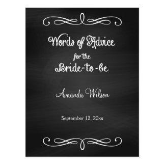 Chalkboard Design Bridal Shower Advice Cards Postcard