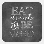 Chalkboard Eat, Drink, and Be Married Sticker