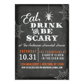 Chalkboard Eat Drink and Be Scary Halloween Party Card