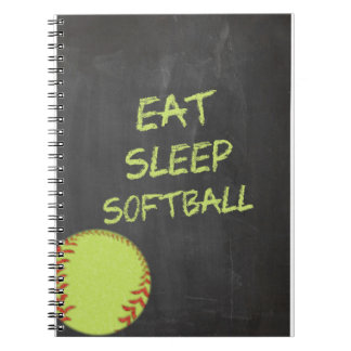Chalkboard Eat Sleep Softball Notebooks