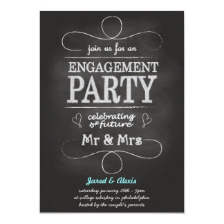Chalkboard Engagement Party Invitation