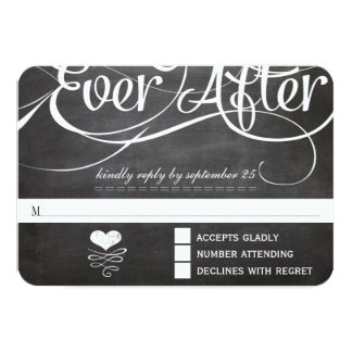 Chalkboard Ever After Initials Typography RSVP Card