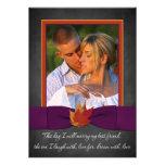 Chalkboard, Fall Leaves Wedding Invite - Purple