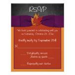 Chalkboard, Fall Leaves Wedding RSVP - Purple