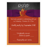 Chalkboard, Fall Leaves Wedding RSVP - Purple Personalised Announcements