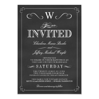 Chalkboard Fancy Monogram Wedding Invitations