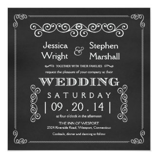 Chalkboard Fancy Square Wedding Invitations