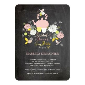 Chalkboard Floral Blooms & Birds Bridal Shower 11 Cm X 16 Cm Invitation Card
