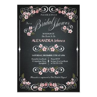 Chalkboard Floral Bridal Shower Chic Vintage Card