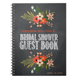 Chalkboard Floral Bridal Shower Guest Book