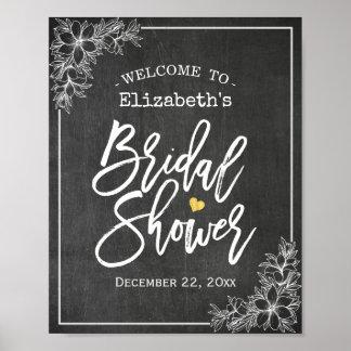 Chalkboard Floral Bridal Shower Welcome Reception Poster
