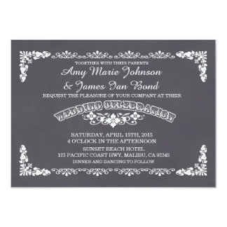 Chalkboard floral damask wedding invites deco3