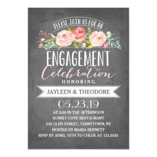 Chalkboard Floral Engagement | Engagement Party 13 Cm X 18 Cm Invitation Card