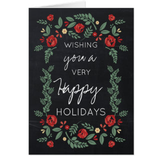 chalkboard floral garden holiday greeting card