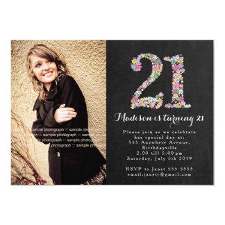 Chalkboard Floral Girls 21st Birthday Party Invite
