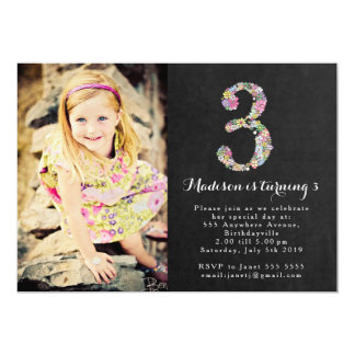 Chalkboard Floral Girls 3rd Birthday Party Invite