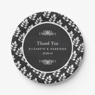Chalkboard Floral Leaf Wedding 7 Inch Paper Plate