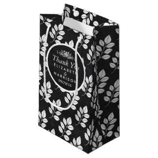 Chalkboard Floral Leaf Wedding Favor Small Gift Bag